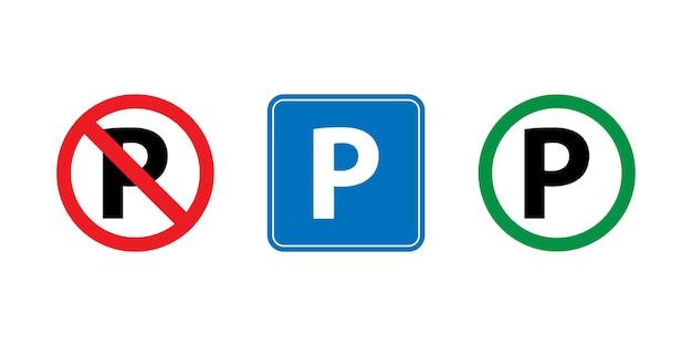 Conjunto de ícones de sinais de estacionamento com design simples