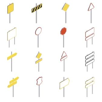 Conjunto de ícones de sinais de trânsito. ilustração isométrica de 16 ícones de sinais de trânsito para web