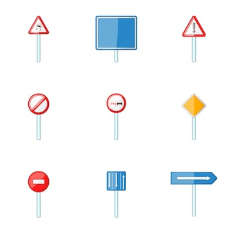 Conjunto de ícones de sinal de estrada, estilo cartoon