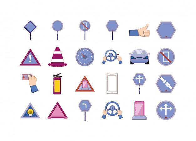 Conjunto de ícones de sinal de estrada isolado