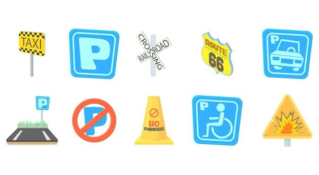 Conjunto de ícones de sinal de estrada
