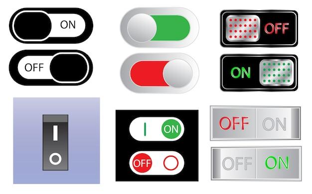 Conjunto de ícones de sinal de interruptor de energia