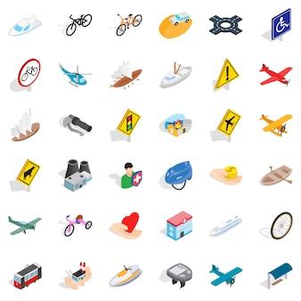 Conjunto de ícones de sinal de tráfego, estilo isométrico
