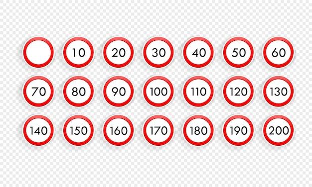 Conjunto de ícones de sinal de trânsito de limite de velocidade