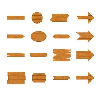Conjunto de ícones de sinal e seta de madeira isolado no fundo branco