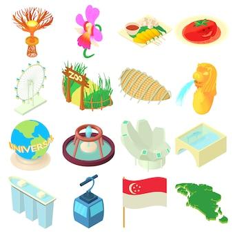 Conjunto de ícones de singapura dos desenhos animados