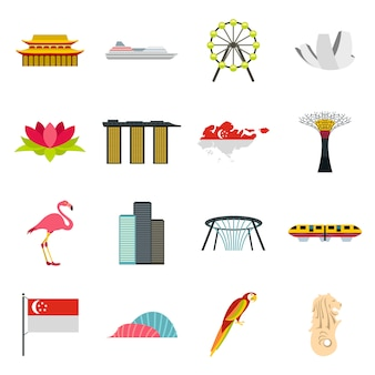 Conjunto de ícones de singapura