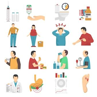 Conjunto de ícones de sintomas de diabetes