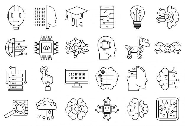 Conjunto de ícones de sistema de inteligência artificial, estilo de estrutura de tópicos