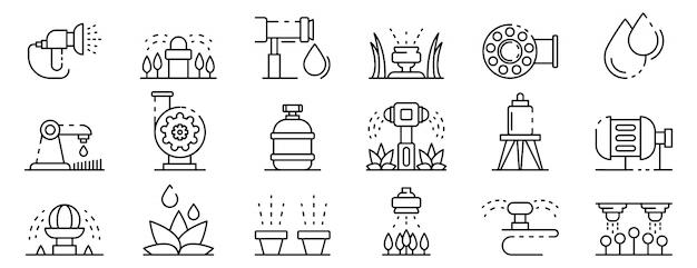 Conjunto de ícones de sistema de irrigação, estilo de estrutura de tópicos