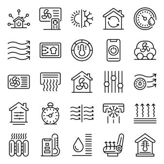 Conjunto de ícones de sistemas de controle climático, estilo de estrutura de tópicos