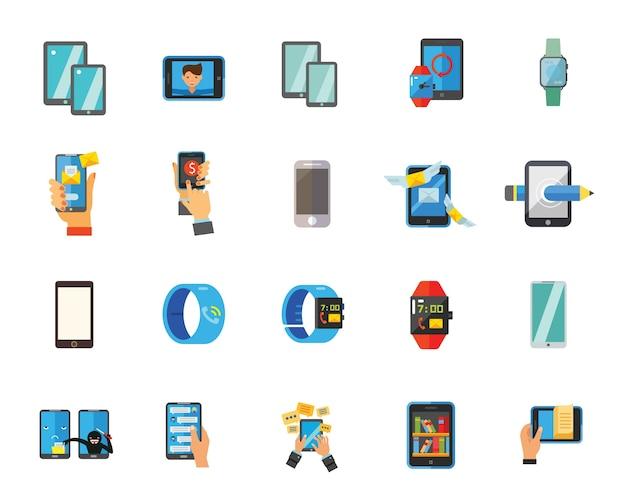 Conjunto de ícones de smartphone e relógio