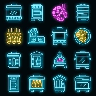 Conjunto de ícones de smokehouse. conjunto de contorno de ícones de vetor de fumeiro, cor de néon no preto
