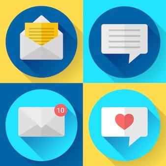 Conjunto de ícones de sms de mensagem de cor lisa