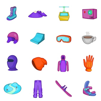 Conjunto de ícones de snowboard