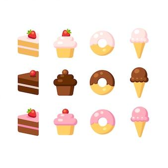 Conjunto de ícones de sobremesa dos desenhos animados. bolo, cupcake, rosquinha e sorvete em sabores diferentes.