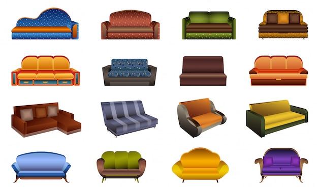 Conjunto de ícones de sofá. caricatura, jogo, de, sofá, ícones