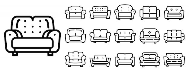 Conjunto de ícones de sofá, estilo de estrutura de tópicos