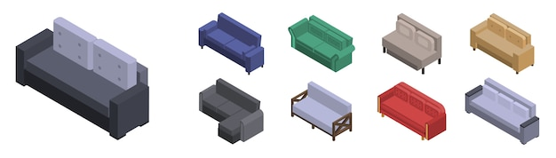 Conjunto de ícones de sofá. isométrico conjunto de ícones de vetor de sofá para web design isolado no fundo branco