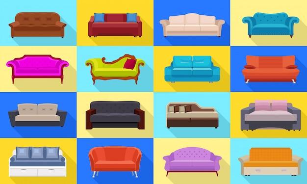Conjunto de ícones de sofá.