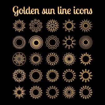 Conjunto de ícones de sol dourado linha fina