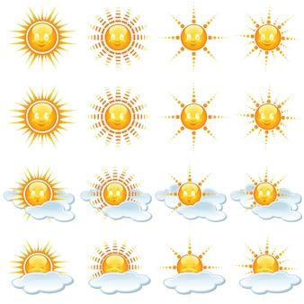Conjunto de ícones de sol e clima