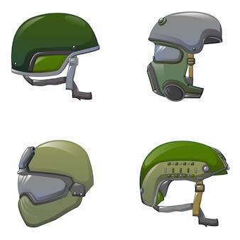 Conjunto de ícones de soldado de capacete do exército