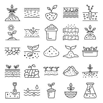 Conjunto de ícones de solo solo, estilo de estrutura de tópicos