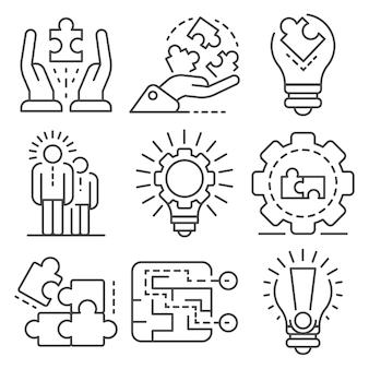 Conjunto de ícones de solução. conjunto de contorno de ícones do vetor de solução