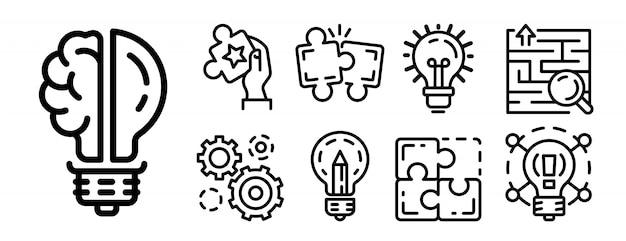 Conjunto de ícones de solução, estilo de estrutura de tópicos