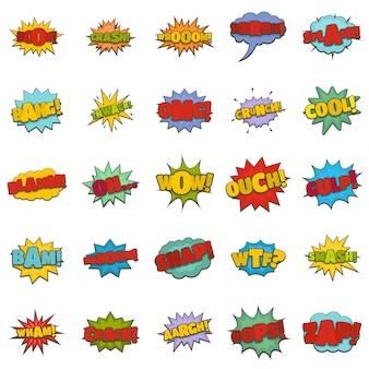 Conjunto de ícones de som em quadrinhos