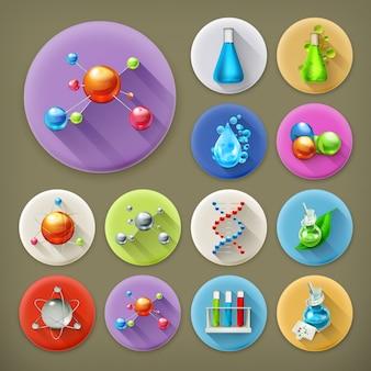 Conjunto de ícones de sombra longa de ciência, tubos e moléculas