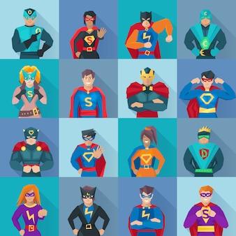 Conjunto de ícones de sombra quadrada de super-herói com símbolos de poder