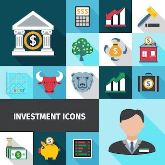 Conjunto de ícones de sombras longas de investimento