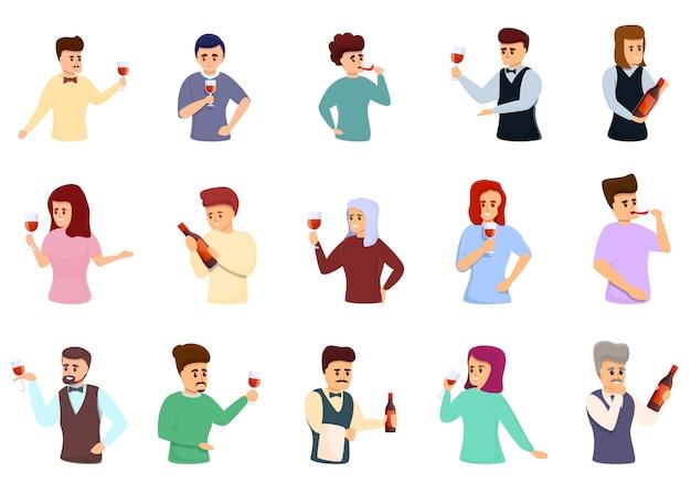 Conjunto de ícones de sommelier, estilo cartoon