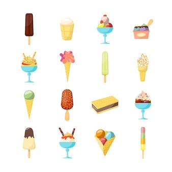 Conjunto de ícones de sorvete de desenho animado com formas diferentes