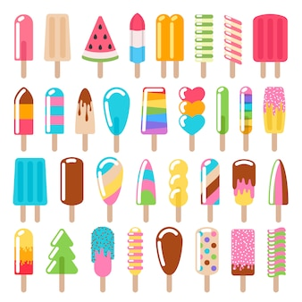 Conjunto de ícones de sorvete de picolé.