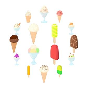 Conjunto de ícones de sorvete, estilo cartoon