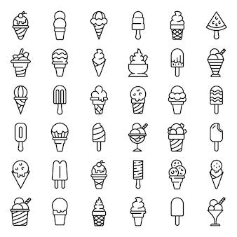 Conjunto de ícones de sorvete, estilo de estrutura de tópicos