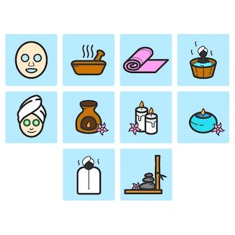Conjunto de ícones de spa de cores planas