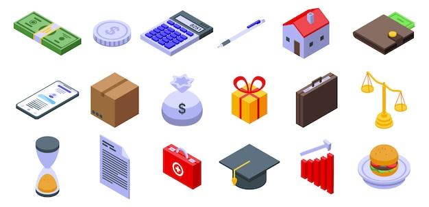 Conjunto de ícones de subsídio, estilo isométrico