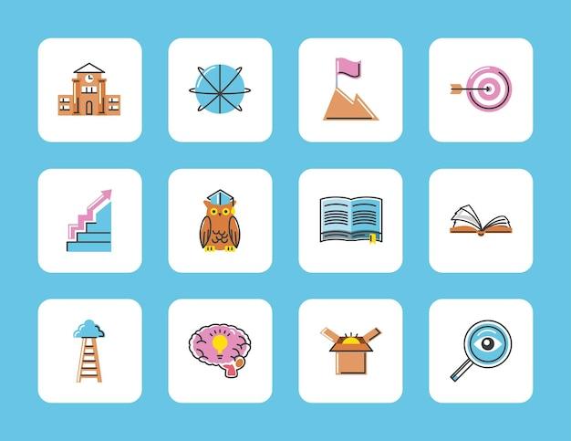 Conjunto de ícones de sucesso de conhecimento