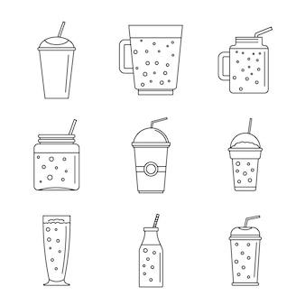 Conjunto de ícones de suco de fruta batido