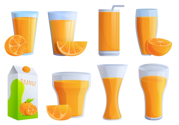 Conjunto de ícones de suco de laranja, estilo cartoon