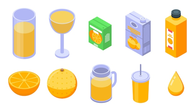 Conjunto de ícones de suco de laranja, estilo isométrico