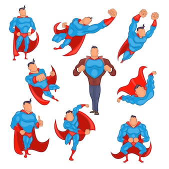 Conjunto de ícones de super-herói em estilo cartoon