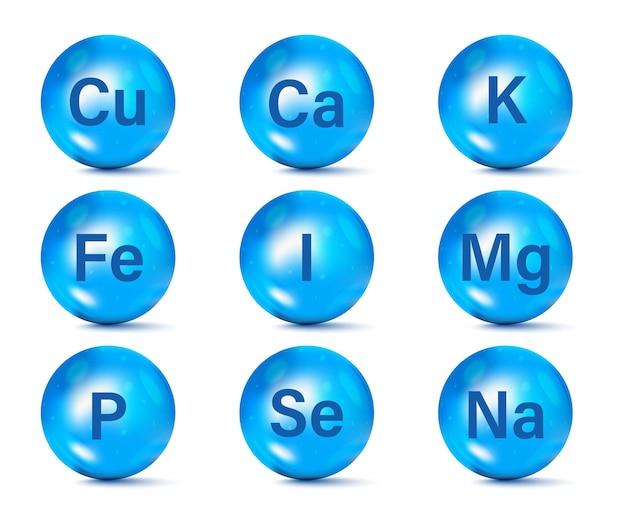 Conjunto de ícones de suplemento de minerais essenciais. minerais e complexo multivitamínico para a saúde. cálcio zinco magnésio manganês ferro molibdenita iodo cobalto cromo cobre potássio silício selênio