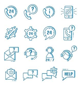 Conjunto de ícones de suporte, ajuda e atendimento ao cliente com estilo de estrutura de tópicos