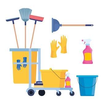 Conjunto de ícones de suprimentos de limpeza vector design ilustração