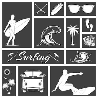 Conjunto de ícones de surf em preto e branco.